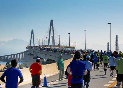 新湊大橋とランナー